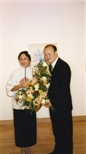 Photograph: Zheng Shuang with a man believed to be her husband at the opening of her exhibition 'Zheng Shuang Woodcuts 1980-1996' in Glasgow Print Studio Gallery (2000)