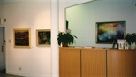 Photograph: Glasgow Print Studio Gallery front desk during the exhibition 'Louise Annand - Paintings' (2001)