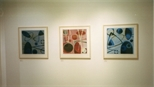 Photograph: 3 prints from the exhibition 'Hetty Haxworth - Forms and Colour' in Glasgow Print Studio Gallery (2001)