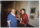 Photograph: 2 unknown women at the opening of 'Alive and Printing' in Kelvingrove Art Gallery and Museum (2002)