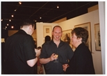 Photograph: Paul Cassidy, Myra Lee and an unknown man at the opening of 'Alive and Printing' in Kelvingrove Art Gallery and Museum (2002)