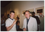 Photograph: 2 men at the opening to 'Alive and Printing' in Kelvingrove Art Gallery and Museum (2002)