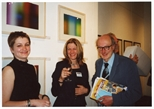 Photograph: 3 people posing at the opening of 'Alive and Printing' at Kelvingrove Art Gallery and Museum (2002)