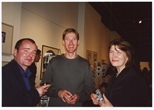Photograph: Norman Mathieson, Sue MacKechnie and an unknown man at the opening of 'Alive of Printing' in Kelvingrove Art Gallery and Museum (2002)