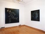Photograph: 2 paintings from the exhibition 'James McDonald - Reflections' in a corner of Glasgow Print Studio Gallery (2002)