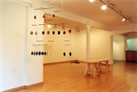 Photograph: Various pieces from the exhibition 'Dragon Doll' by Christine Borland and Claire Barclay in Glasgow Print Studio Gallery (2002)