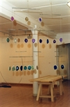 Photograph: One of Christine Borland's mobiles from the joint exhibition 'Dragon Doll' with Claire Barclay (2002)