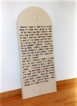 Photograph: The sculpture 'Tombstone' by Kenny Hunter in Glasgow Print Studio Gallery (2000)