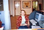 Photograph: Leona Stewart at the gallery desk