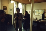 Photograph: Ursula Jakob at her exhibition opening